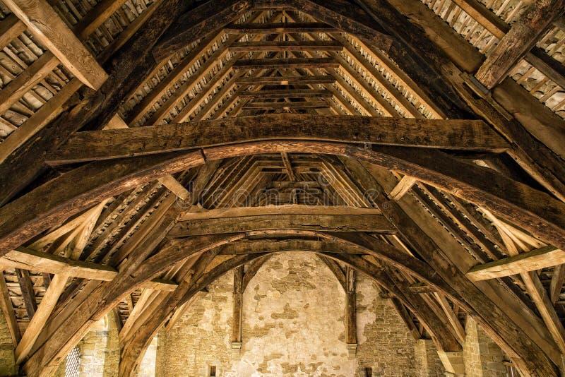 Madeiras do telhado do castelo de Stokesay, Shropshire, Inglaterra imagens de stock royalty free