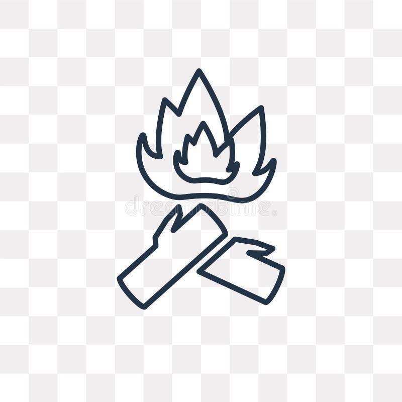 Madeiras no ícone do vetor do fogo isolado no fundo transparente, li ilustração stock