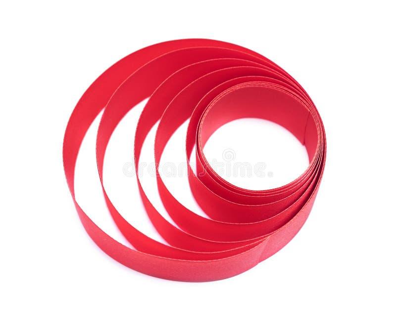 Madeja de la cinta de satén roja foto de archivo