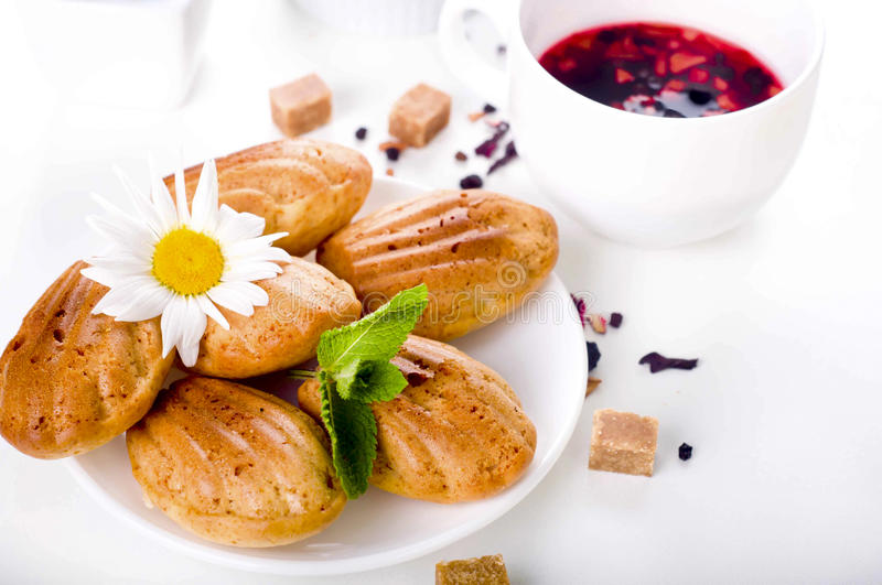 Madeleine homemade cakes. In flower shape with tea on white background stock image