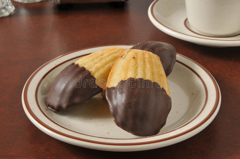 Madeleines mergulhou no chocolate fotos de stock royalty free