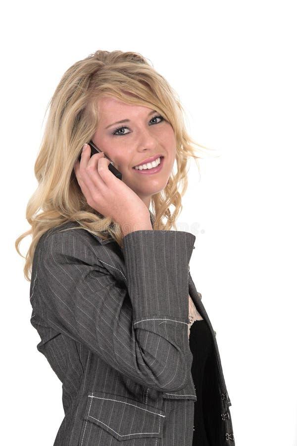 Madelien que habla en el teléfono imagen de archivo libre de regalías