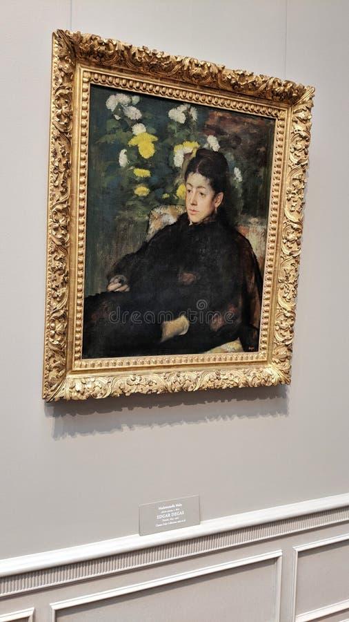 Mademoiselle Malo, Edgar Degas 1877 olie op canvas stock fotografie