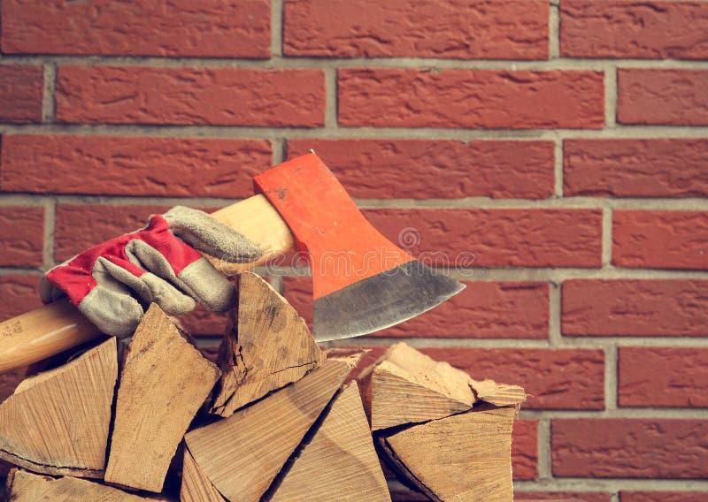 Madera apilada del fuego de la haya fotos de archivo libres de regalías