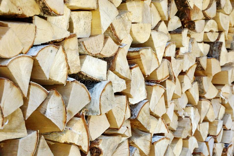 madera de abedul en el woodpile para el backgro de la textura del horno o de la chimenea foto de archivo libre de regalías