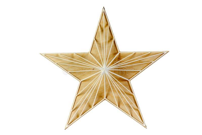 Madera de la estrella Decoración para una casa hecha de la madera En un fondo blanco fotos de archivo libres de regalías