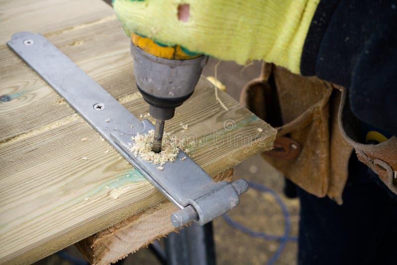 Madera de la perforación del carpintero fotografía de archivo