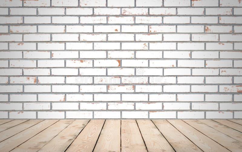 Madera de la perspectiva sobre el fondo blanco de la pared de ladrillo, sitio, tabla, fotos de archivo libres de regalías