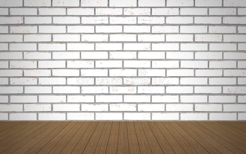 Madera de la perspectiva sobre el fondo blanco de la pared de ladrillo, sitio, tabla, fotografía de archivo