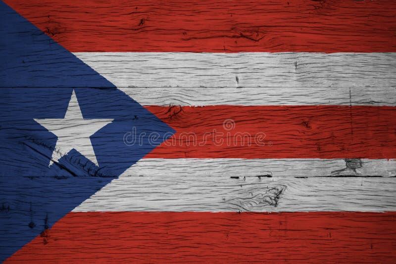 Madera de roble vieja pintada de la bandera nacional de Puerto Rico fotografía de archivo libre de regalías