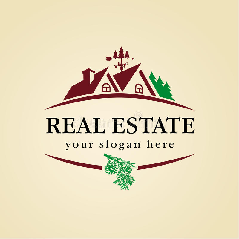 Madera del logotipo de las propiedades inmobiliarias foto de archivo libre de regalías