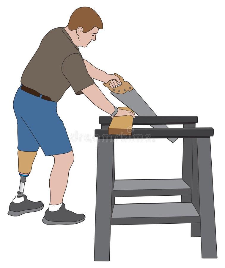 Madera del sawing del amputado stock de ilustración