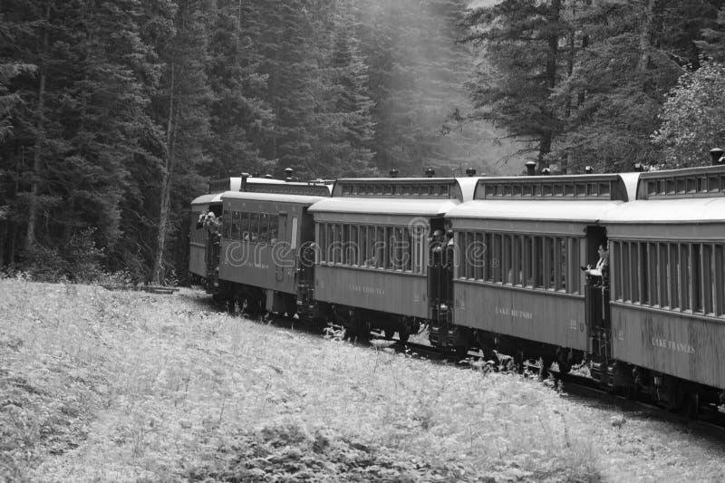 Madera del tren de la fiebre del oro del Yukón y puente viejos del hierro fotos de archivo