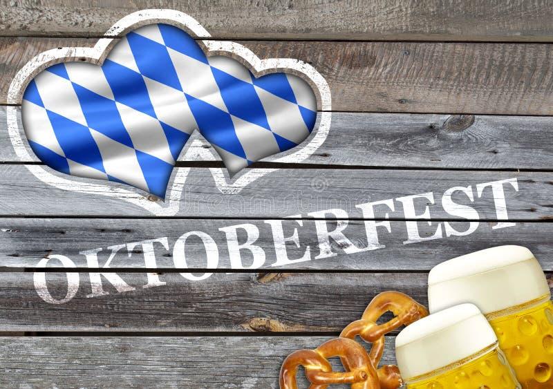 Madera del vintage con los pretzeles y la cerveza con poner letras a Oktoberfest fotografía de archivo