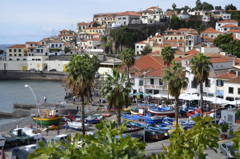Madera połowu Colourful port Camara De Lobos obraz royalty free