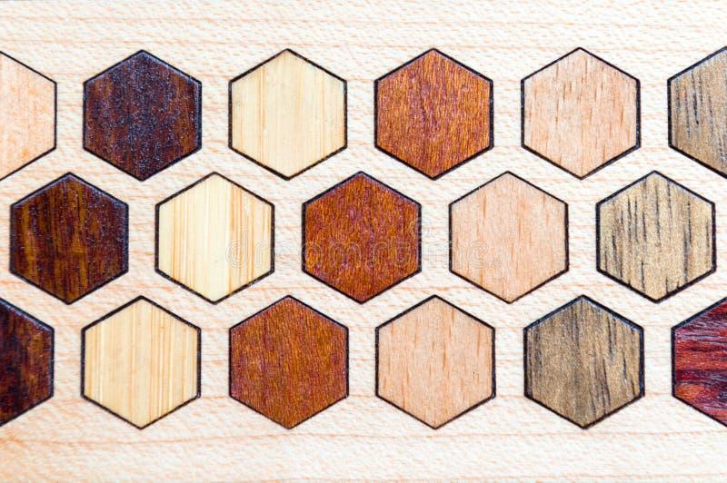 Madera real, modelo del embutido del hexágono foto de archivo libre de regalías