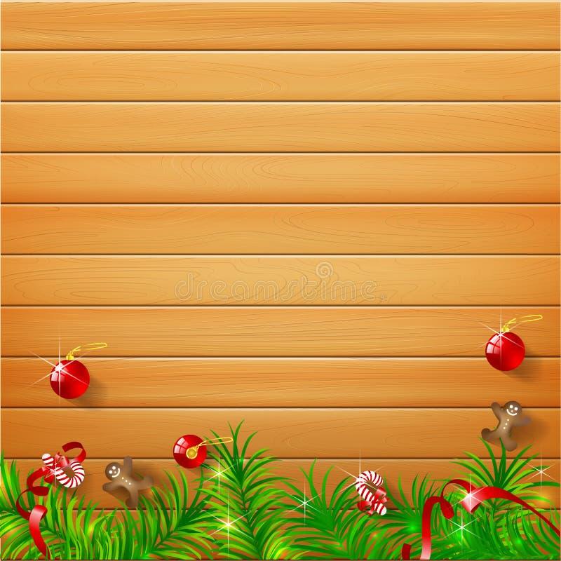 Madera realista de la naturaleza del fondo abstracto con el bal rojo de la Navidad stock de ilustración
