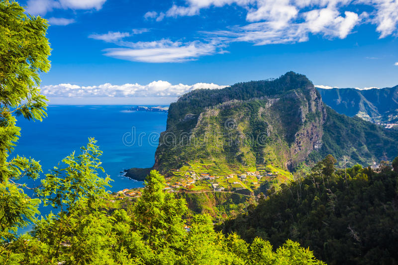 Maderia island, from Faial village stock image