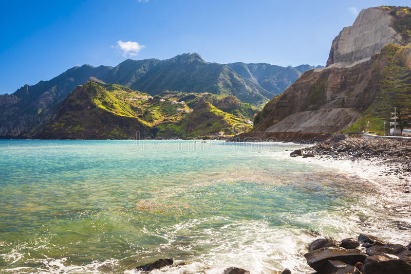 Maderia island, from Faial village stock images