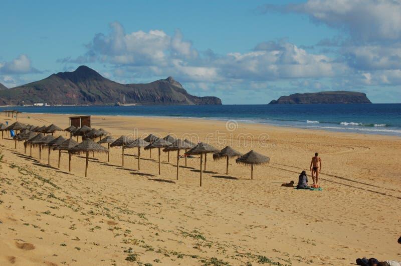 Madery wyspa: Plaża Porto robi Santo obrazy royalty free