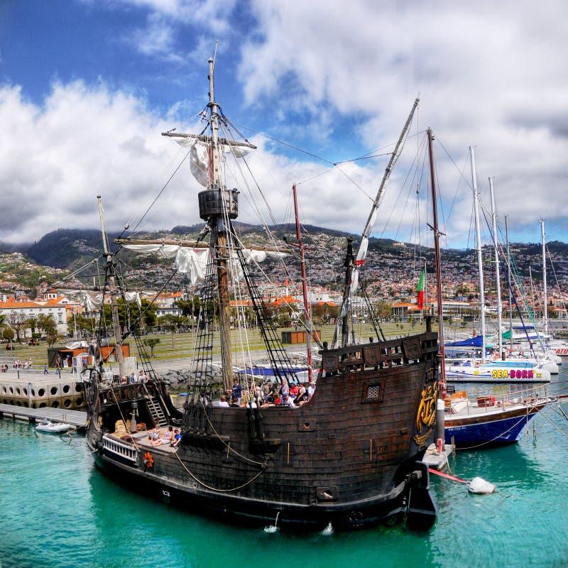 Madery wyspa, Santa Maria Kolumb statek, Funchal obrazy royalty free