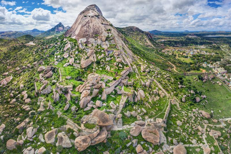 Madhugiri Hill and the Fort. An aerial panoramic view of the Madhugiri Hill and the Fort, near Tumkur, India. Madhugiri Hill is Asia's second-biggest stock images