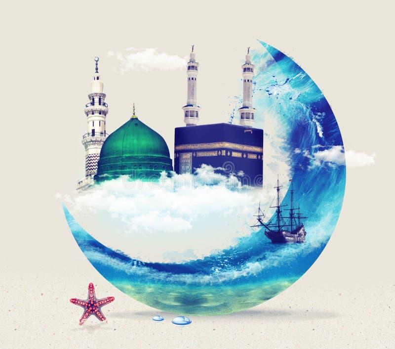 Madina麦加kaba -沙特阿拉伯先知穆罕默德设计Green Dome  库存图片