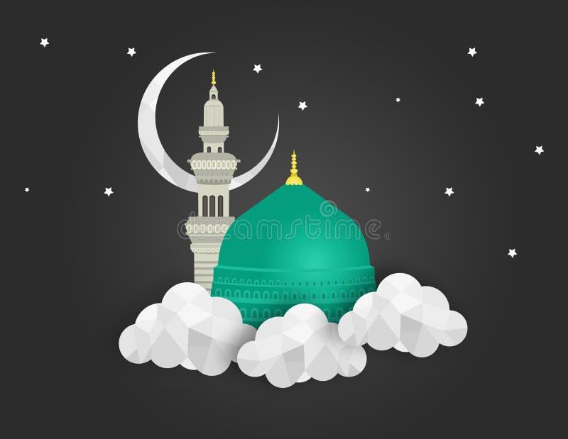 Madina - Саудовская Аравия Green Dome дизайна Мухаммеда пророка иллюстрация вектора