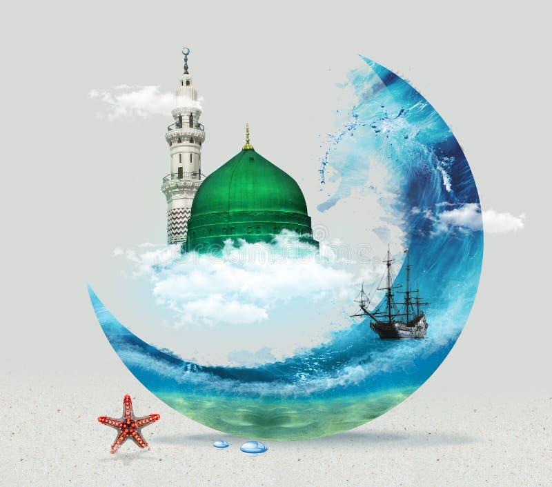 Madina - de Groene Koepel van Saudi-Arabië van vlak het ontwerp Islamitisch vlak conceptontwerp van Helderziendemuhammad royalty-vrije stock fotografie