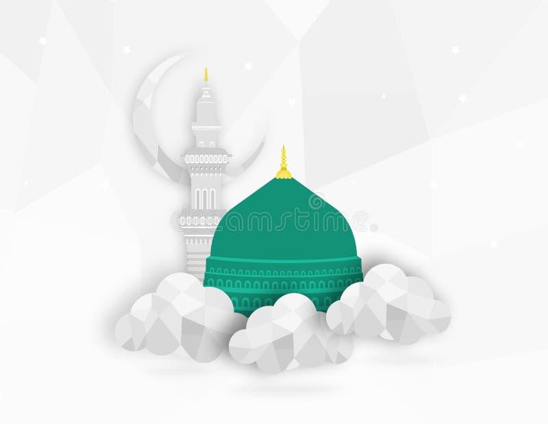 Madina Munawwara moské - Saudiarabien Green Dome av designen för begrepp för design för profetMuhammad lägenhet den islamiska pla arkivfoto