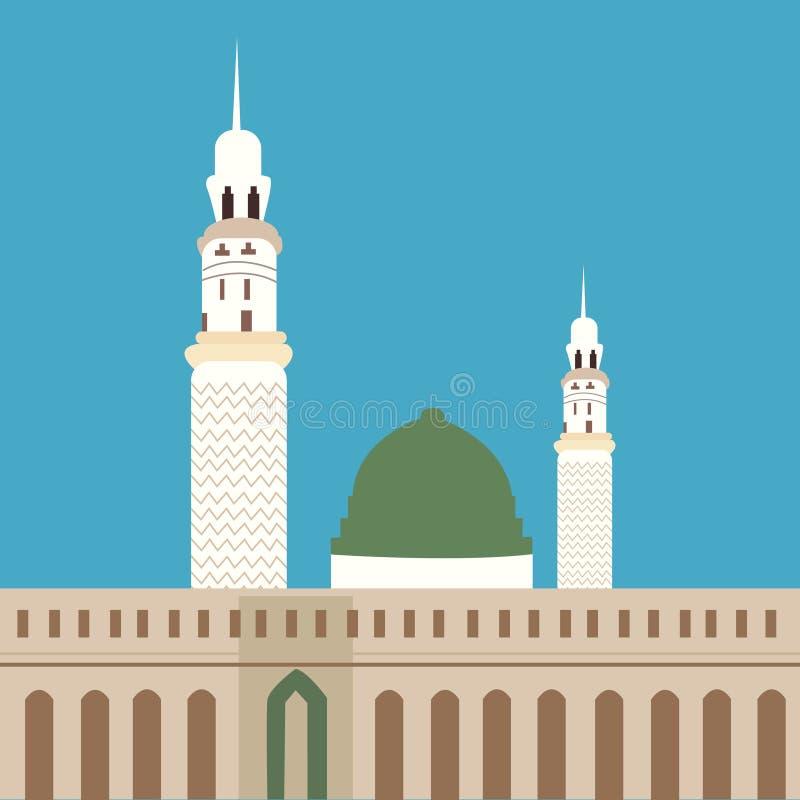 Madinaislam van de Nabawimoskee de minaret van de vereringskoepel royalty-vrije illustratie