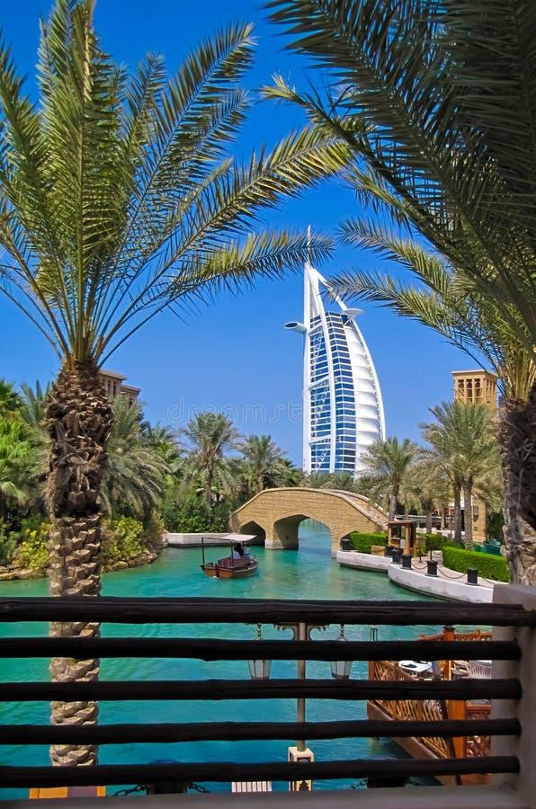 Madinat卓美亚奢华酒店集团-阿拉伯人威尼斯在迪拜 库存照片