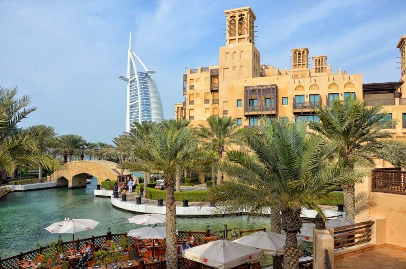 Madinat Jumeirah en Burj-al Arabische, Verenigde Arabische Emiraten royalty-vrije stock afbeeldingen