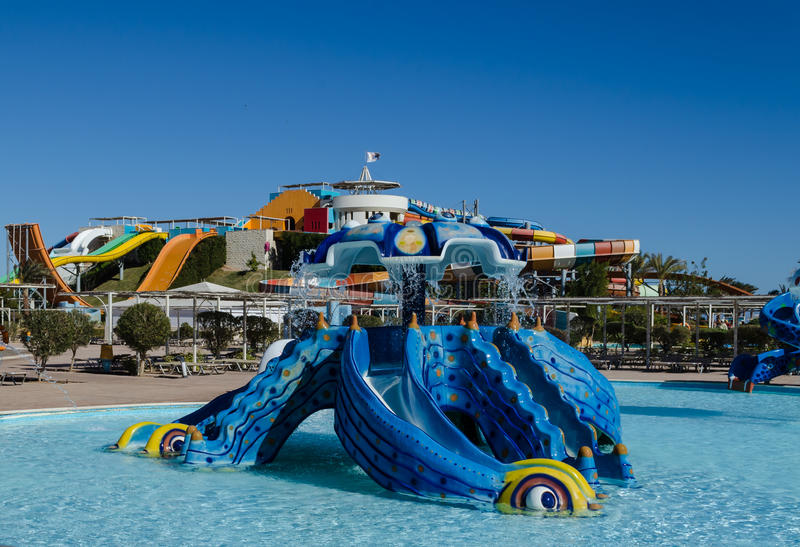 Water park, hill for children in the form of a sea monster stock image