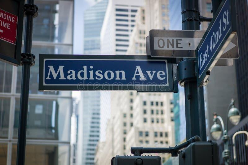 Madison Ave imagen de archivo libre de regalías