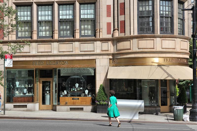Madison Avenue shopping. NEW YORK, USA - JULY 2, 2013: Person walks in front of Fred Leighton jewelry store in Madison Avenue, NY. Madison Avenue is one of the