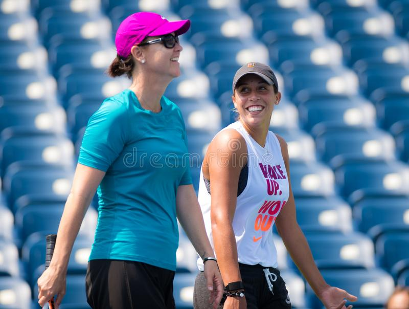 Madison Keys. Of the United States and coach Lindsay Davenport during practice at the 2017 US Open Grand Slam tennis tournament stock image