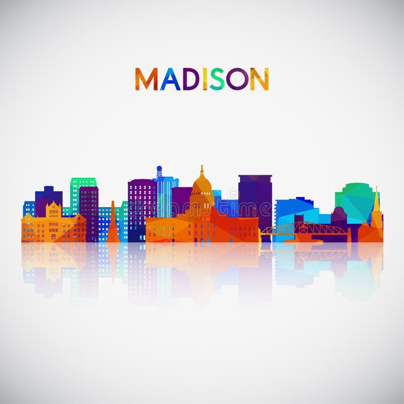 Madison linia horyzontu sylwetka w kolorowym geometrycznym stylu royalty ilustracja