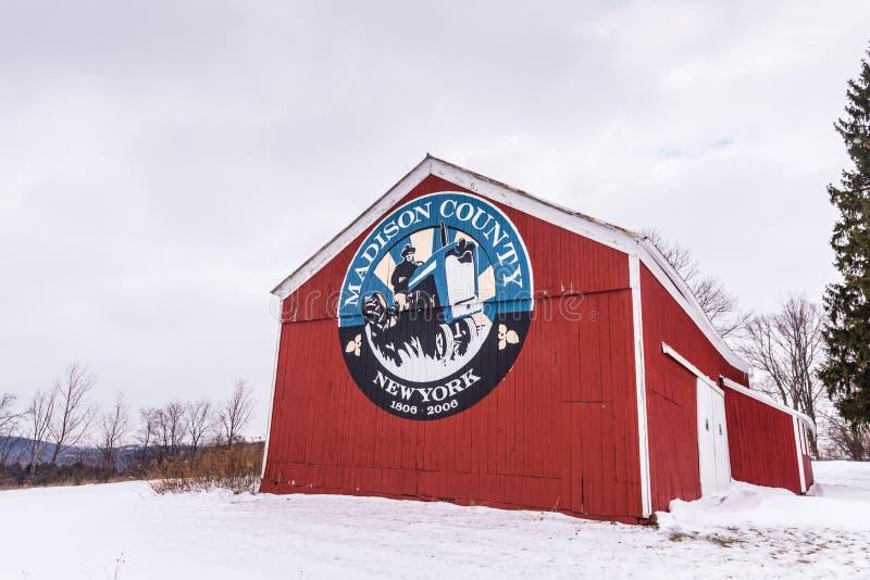 Download Madison Okręgu Administracyjnego Znak - Cazenovia, Nowy Jork Obraz Editorial - Obraz złożonej z foka, czerwień: 106911660