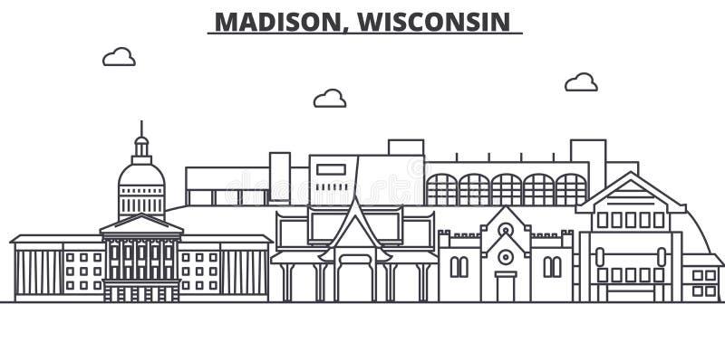 Madison, Wisconsin architektury linii linii horyzontu ilustracja Liniowy wektorowy pejzaż miejski z sławnymi punktami zwrotnymi,  royalty ilustracja