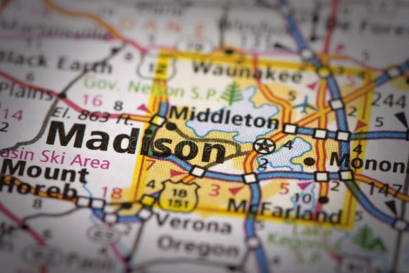 Madison, Wisconsin sulla mappa fotografie stock libere da diritti