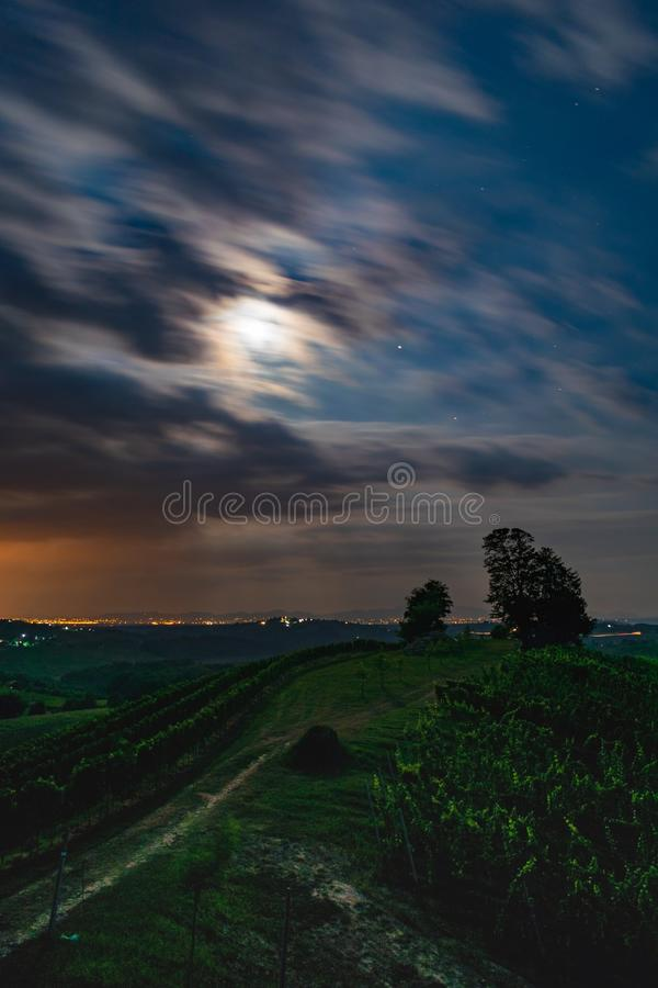 Madjerka hill. Hill, night, longexposure, medjimurje, croatia, sky, clouds, wineyard stock photo