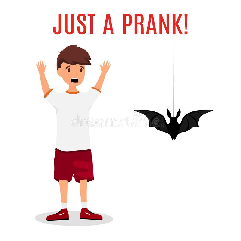 Madly frightened man. Boy afraid of a bat hanging from the top. Prank concept. Colorful flat style cartoon vector royalty free illustration