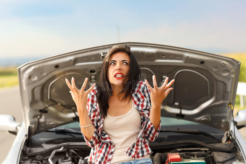 Madness due to broken car royalty free stock photography