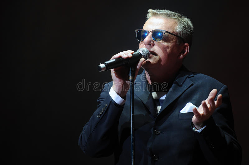 Madness. Singer Graham McPherson alias Suggs of famous British band Madness during performance at festival Rock for People in Hradec Kralove, Czech republic stock photo
