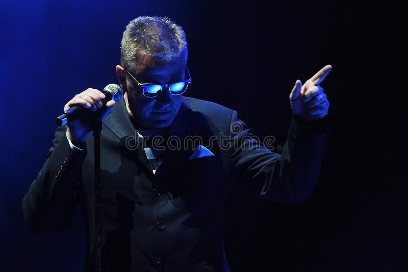 Madness. Singer Graham McPherson alias Suggs of famous British band Madness during performance at festival Rock for People in Hradec Kralove, Czech republic royalty free stock photo