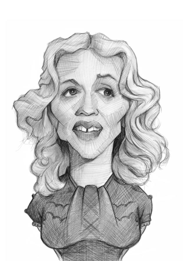 Madonna Caricature Sketch Portrait. For editorial use vector illustration