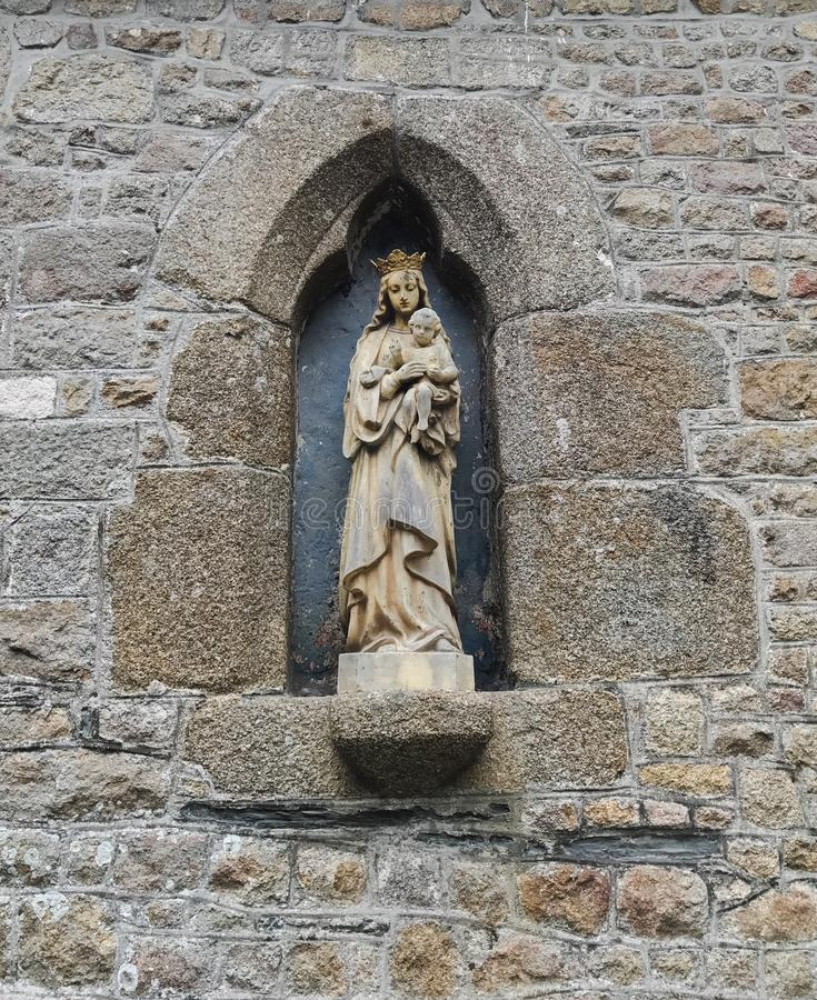 Madonna and Child Niche Statue royalty free stock photo