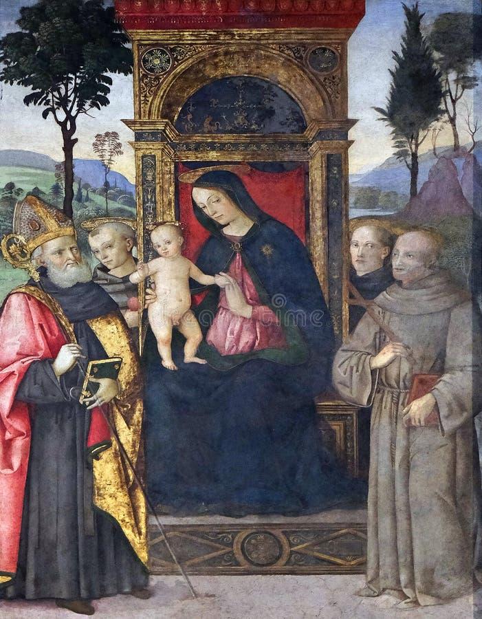 Madonna con il bambino ed i san immagini stock