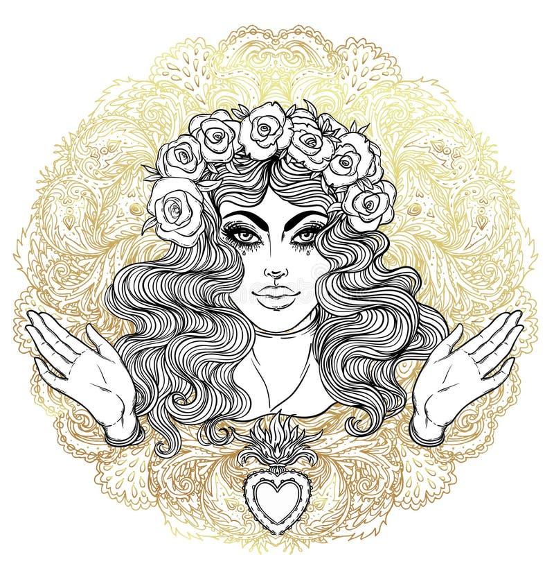 Madonna, dama stroskanie Oddanie Niepokalany serce Ble ilustracji